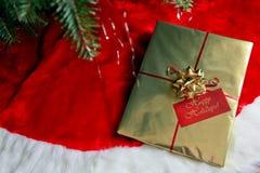 En härlig gåva under julgranen Royaltyfri Bild