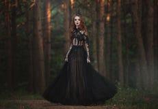 En härlig gotisk prinsessa med blek hud och mycket långt rött hår i en svart krona och en svart lång klänning i en dimmig felik s royaltyfri fotografi