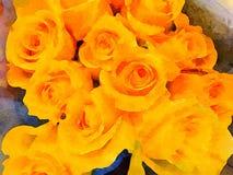 En härlig grupp av buketten för gula rosor Royaltyfria Bilder