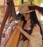En härlig Harpist på den Arizona renässansfestivalen Arkivbild