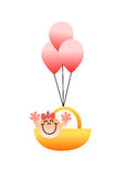 En härlig illustration av ett flyg för behandla som ett barnflicka i en korg med ballonger vektor illustrationer