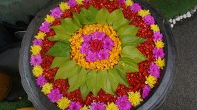 En härlig kruka av blommor för det mest enorma folket och guden arkivbilder