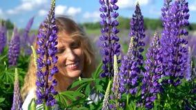 En härlig kvinna, beundrar de purpurfärgade blommorna i ängen på en solig dag och leenden Framsida- och blommacloseup lager videofilmer