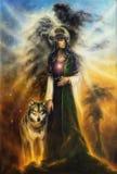 En härlig olje- målning på kanfas av en mystisk felik priestess stock illustrationer