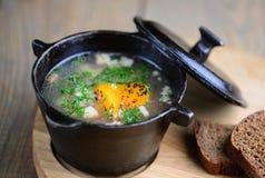 En härlig presentation av fisksoppa i en järn- panna på en träbakgrund Uha Närbild royaltyfria foton