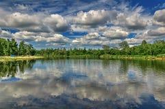En härlig sikt är inte en skog och en flod på en solig dag för sommar Royaltyfri Fotografi