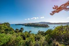 En härlig sikt av den historiska Mangonui hamnen i den avlägsna norden av Nya Zeeland arkivfoton