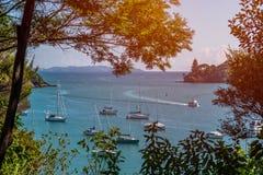 En härlig sikt av den historiska Mangonui hamnen i den avlägsna norden av Nya Zeeland royaltyfri bild