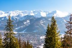 En härlig sikt av staden av Zakopane som ligger på foten av de polska Tatra bergen Solig härlig dag i vintern, snö royaltyfri bild