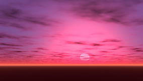 En härlig solnedgång med små lilor och rött glöd i himlen Royaltyfria Bilder
