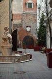 En härlig springbrunn i gården av historisk byggnad i den gamla Rigaen Fotografering för Bildbyråer