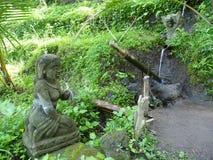 En härlig staty av den hinduiska gudvakten risfälten Fotografering för Bildbyråer