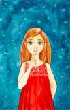 En härlig ung flicka med långt brunt hår och blåa ögon i en röd klänning mot showerna för natthimmel hyssjar för flygillustration royaltyfri foto