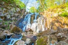 En härlig vattenfall i skogdjurlivet, vattenfall i en öde skogtaiga Royaltyfri Bild