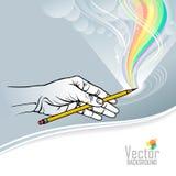 En härlig vektorillustration av en hand som rymmer en blyertspenna och drar en färgglad regnbåge royaltyfri illustrationer