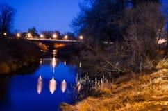 En härlig Wyoming nattflod Royaltyfri Fotografi