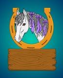 En häst och ett ställe för din text designelementillustrationen låter vara vektorn Snöra åt doilyen Vit häst för färg royaltyfri illustrationer
