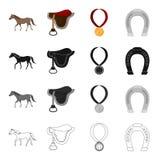 En häst, en sadel för en ryttare, en belöning i lopp, en hästsko Kapplöpningsbana och fastställda samlingssymboler för hästkapplö royaltyfri illustrationer