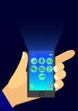 En hållande mobiltelefon för man Royaltyfria Bilder