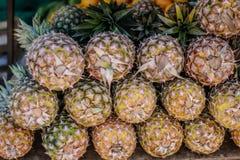 En hög av ananas på bönder marknadsför Arkivfoton