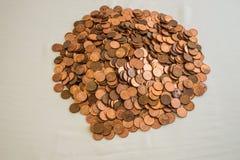 En hög av kanadensaren en cent mynt Royaltyfri Bild