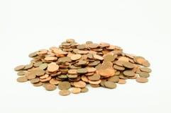 En hög av mynt för eurocent Arkivfoto