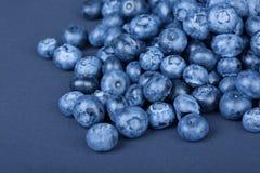 En hög av söta och naturliga blåbär på ett mörker - blå bakgrund Organiska ingredienser för sunda mellanmål royaltyfri bild