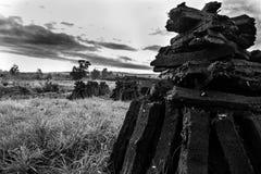 En hög av torva i Irland royaltyfria foton