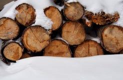 En hög av trä i snow royaltyfri bild
