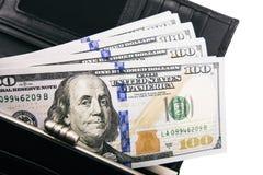 En hög av USA-sedlar med presidentstående Kassa av dollarräkningar, dollarbakgrundsbild royaltyfri fotografi