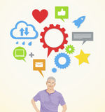 En hög man med sociala nätverkandeidéer vektor illustrationer