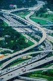 En hög sikt av Houston huvudvägar Royaltyfri Bild