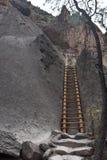 En högväxt stege som fördjupa in i Shelteden Cliff Caverns fotografering för bildbyråer