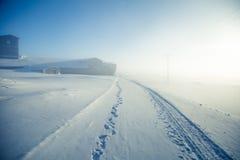 En h?rlig dimmig morgon i de norska kullarna i vinter Vitt disigt landskap royaltyfri fotografi