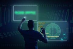 En hacker i darknetavbrott in i bitcoinnätverk arkivfoton