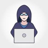 En hacker i Hodie Arkivfoto