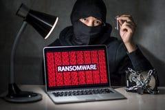 En hacker med att anfalla för ransomware för visning för datorskärm Royaltyfria Bilder