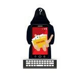 En hacker med den bärande balaclavaen för smartphone royaltyfri illustrationer