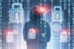 En hacker och nätverkssäkerhetsbegrepp, HUD arkivbilder