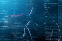 En hacker på arbete Fotografering för Bildbyråer
