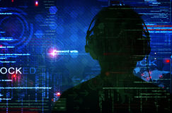 En hacker på arbete Arkivfoton