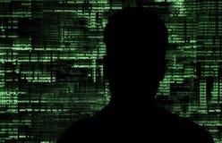 En hacker på arbete Arkivbild
