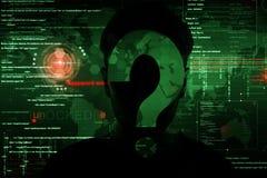 En hacker på arbete Royaltyfria Bilder