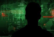 En hacker på arbete Royaltyfri Bild