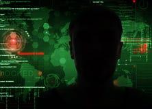 En hacker på arbete Arkivbilder