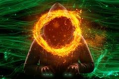 En hacker på datoren tränger igenom firewallen och finner ut lösenord stock illustrationer