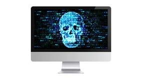 En hacker på internet Hacka förtrolig information på datoren stock illustrationer