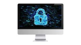 En hacker på internet Skydd av din dator stock illustrationer