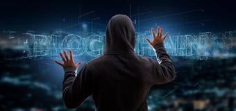 En hacker som aktiverar en Blockchain titel Arkivbild
