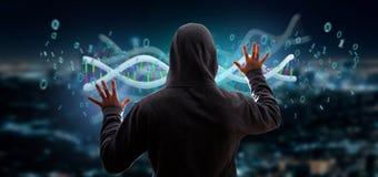 En hacker som aktiverar data för tolkning 3d, kodifierade Dna med den binära mappen Arkivfoto